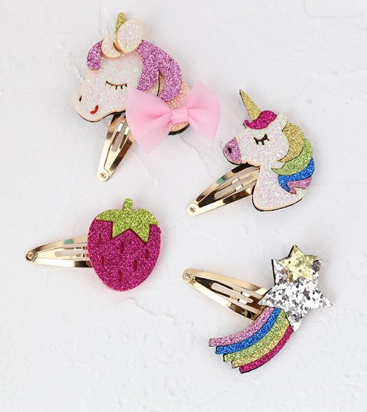 Unicorn horse baby girls sequin hair clips strawberry rainbow design kids girl hair barrettes children boutiques hair accessories fashion