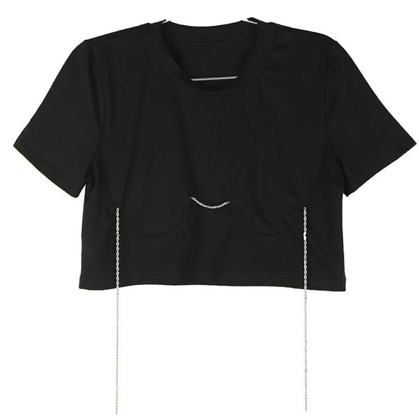 New 209 Koreans Style Women Summer Stylish Crop Top Black T-shirt With Chain Female Unique Wear Tshirt Casual Style Femme F1048