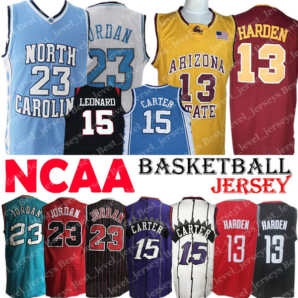 NCAA North Carolina jersey College Tar Heels Michael Jersey Vince 15 Carter Leonard James Jersey Harden Arizona State Sun Devils