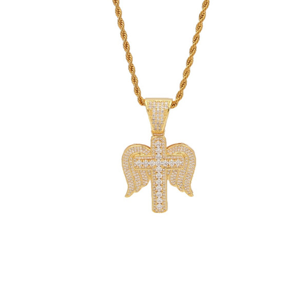 Mens Iced Out Angel Wings Cross CZ Pendant Full Micro Paved Cubic Zirconia Delicate Necklace For Men Women