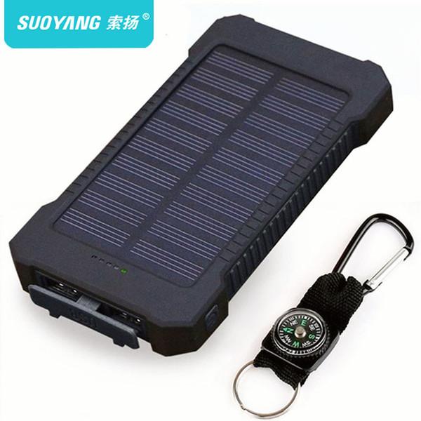 Solar Power Bank Водонепроницаемый 30000mAh Солнечное зарядное устройство 2 порта USB Внешнее зарядное устройство Powerbank для Xiaomi Smartphone со светодиодной подсветкой