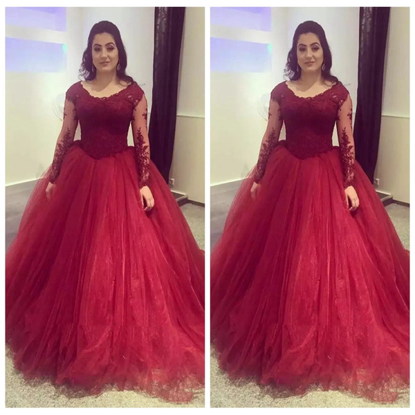 Scoop Long Sleeves Lace Appliques Ball Gown Evening Dresses 2019 Custom Long Vestidos De Prom Party Gowns For Ladies Special Occasion Gowns
