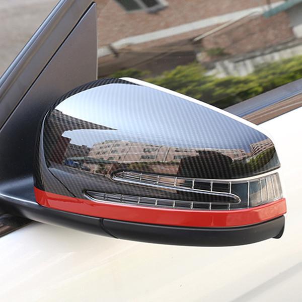 Car Rearview Mirror Cover Decoration Trim Stickers For Mercedes Benz C W204 2010-13 E W212 2009-15 Carbon Fiber Color Decals