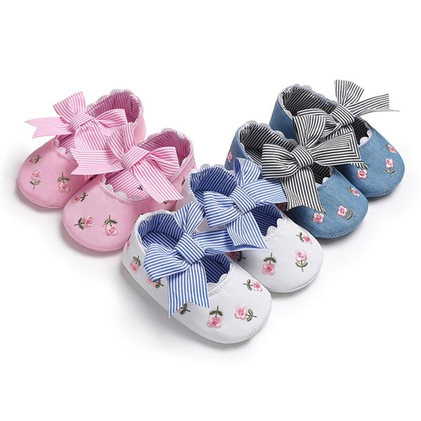 1pair Fashion Toddler Embroidered Flower Princess Shoes For Baby Girls Big Bow Soft Sole Newborn Baby Moccasins Shoes