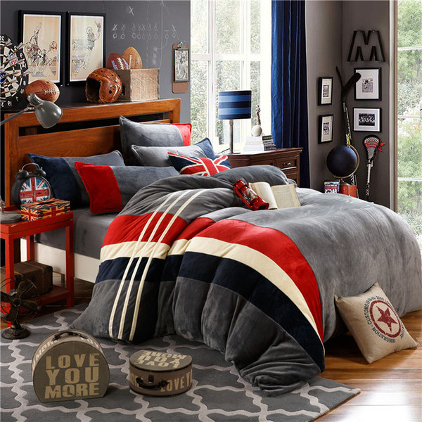 British Style Flannel bed linen set winter warm bedding sets/bedclothes Twin queen king size duvet cover sheets