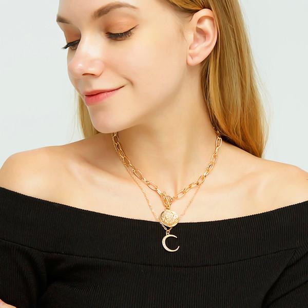 Nuevas llegadas Etiqueta Circular Collar Mujer Aleación Estrella Luna Collares pendientes para Mujeres Clavícula Oro Plata Cadenas Cristal Diamantes Moda