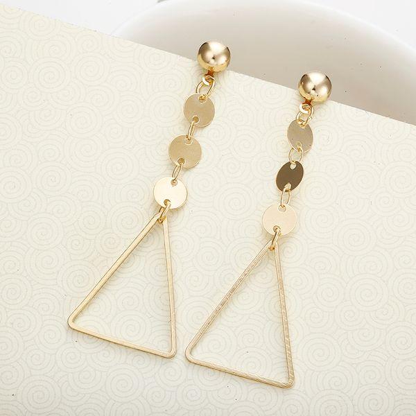 E0487 Fashion Metal Triangular Shaped Gold Grop Earrings For Women Girls Jewelry Party Shopping Cheap European Earrings