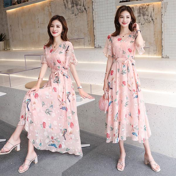 Large-size women's dress, fat mm summer dress, Chiffon fragments, belly-shading, aging dress, slender short-sleeved long skirt fairy skirt