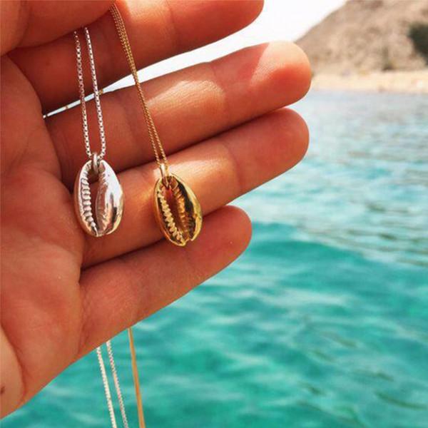 Boho Beach Sea Shell Cowrie Anhänger Halskette Für Frauen Mode Ozean Gold Kette Halsketten Schmuck Geschenke Dekor Mithelfer