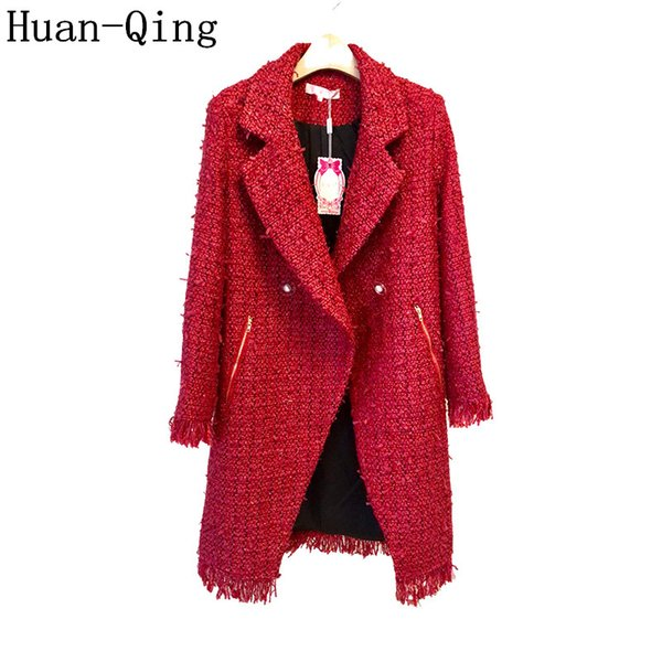 High Quality Winter Ladies Weave Tweed Coat Women Double-breasted Long Woolen Coat Long Sleeve Tassel Suit Collar Outerwear