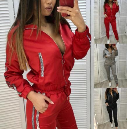 best selling Women's Autumn Tracksuit 2 Piece Set Women Sports Sets Long Sleeve Sweatsuits Fitness Casual Jogging Sweatpants Zipper Suit