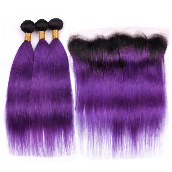#1B/Purple Dark Roots Ombre Straight Indian Hair 3 Bundles with Frontal Ombre Purple Human Hair Weave Bundles with 13x4 Lace Frontal Closure