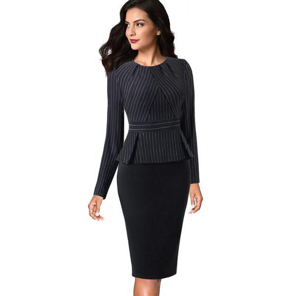 Womens Vintage Elegant Pleated Neck Ruffle Peplum Work Office Business Vestidos Bodycon Sheath Dress Zipper Wear
