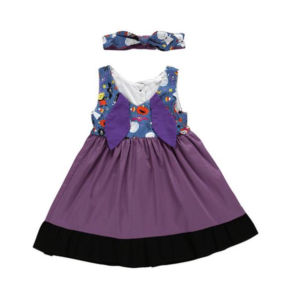 Art und Weise nette Mädchenkleider Sleeveless purpurroter Bogen druckte das Spleißen der Kinderkleid- + Stirnband 2 PC-Satzkinddesignerkleidungsmädchen JY382