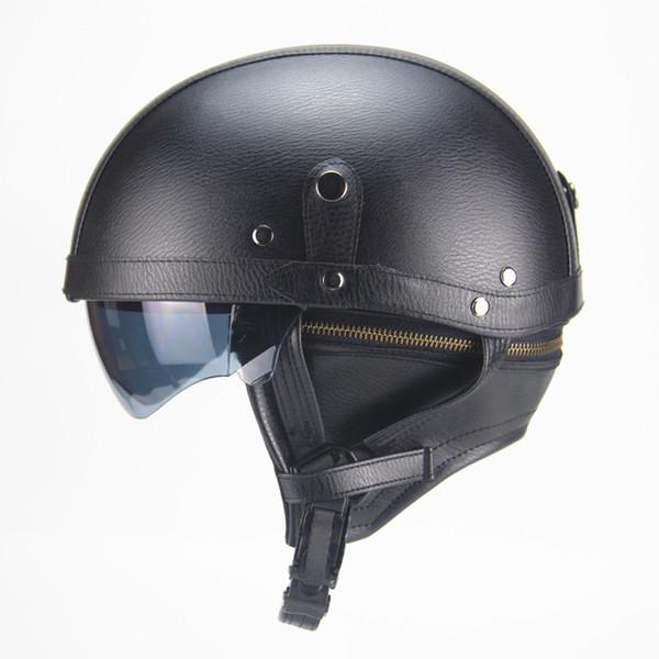 Casco de cuero de la PU de la cara de la motocicleta de la motocicleta del jinete medio abierto con la lente dual