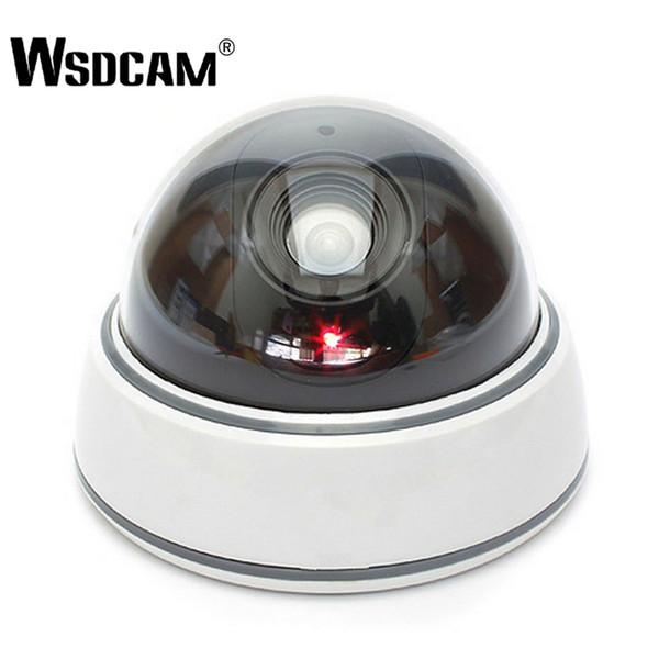 Wsdcam Home Family Outdoor CCTV Camera Fake Dummy Camera Surveillance Security Dome Mini Dummy Camera with LED Light White