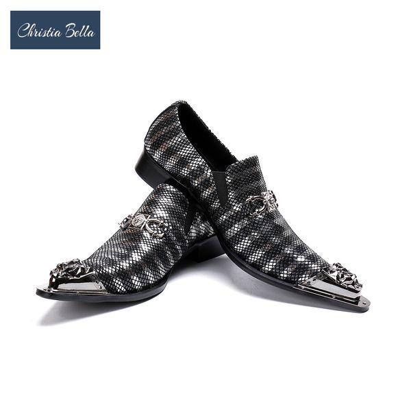 Christia Bella Silver Office Men's Dress Suit Shoes Italian Style Wedding Scarpe casual fibbie Derby Man Zapatos Hombre