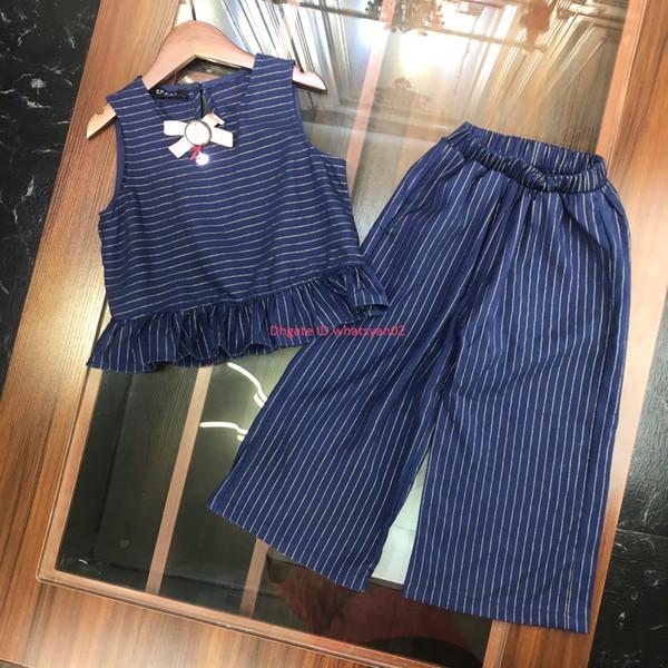 Faldas de chaleco para niñas conjunto otoño ropa de diseñador para niños falda de chaleco + pantalones anchos sueltos 2 piezas conjunto de rayas casual