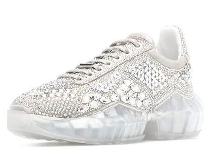 2019 The New superstar Casual shoes street snap platform flat dad shoes crystal diamond genuine leather transparent bottom Shining m2