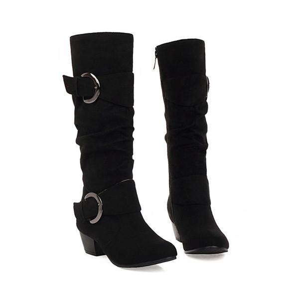 NASBAVI 2019 New Boots High Heels Tight High Quality Scrub Boots Fashion Plus Size Belt Buckle Women