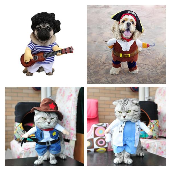 Pet Shop roupas para cachorros Vertical pirata carregado Dog roupas de cowboy doutor Standing Loaded guitarra transformou em vestido engraçado