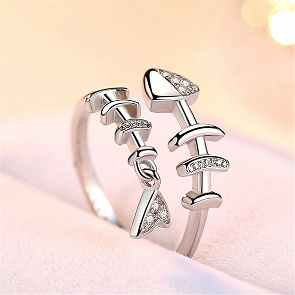 Fish Bone Ring Female Personality Hipster Ring Simple and Fresh Silver Index Finger Opening Creative Japanese and Korean Version