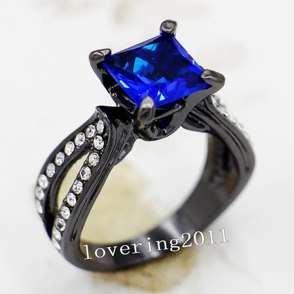Ustore8 Tamaño caliente5 / 6/7/8/9/10 Joyas de los amantes de la vendimia 10KT Zafiro lleno de oro negro Gema anillo de compromiso de boda para dama para regalo de amor