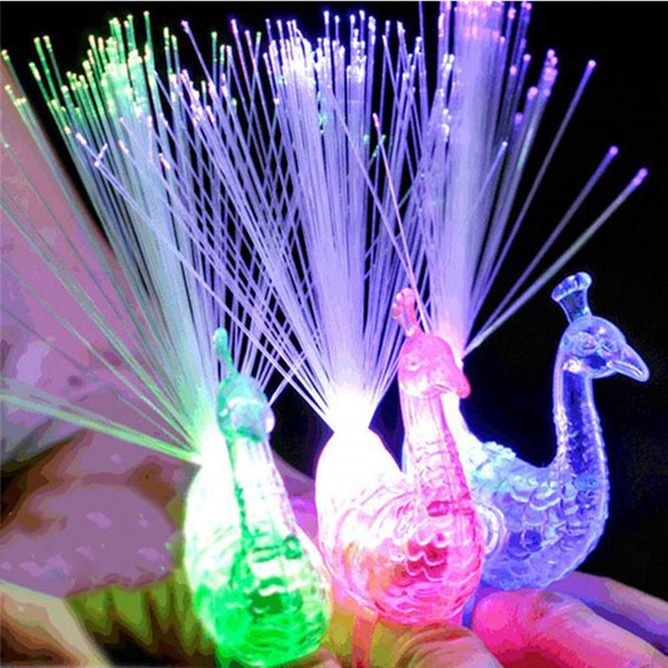 LED Finger Light Ring Creative Colorful Peacock Finger Lights LED Light-up Finger Toys for Party Cheering Novelty Glowing Halloween Gifts