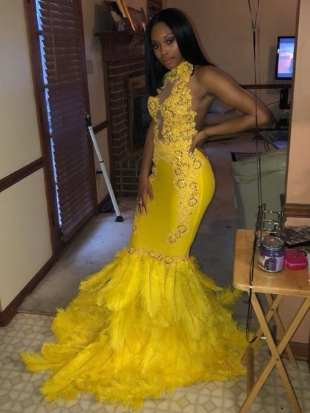 Yellow Mermaid Feather Prom Dresses Long For Black Girls Sexy Backless See Through Stretchy Fabric Evening Party Prom Gown Custom Made