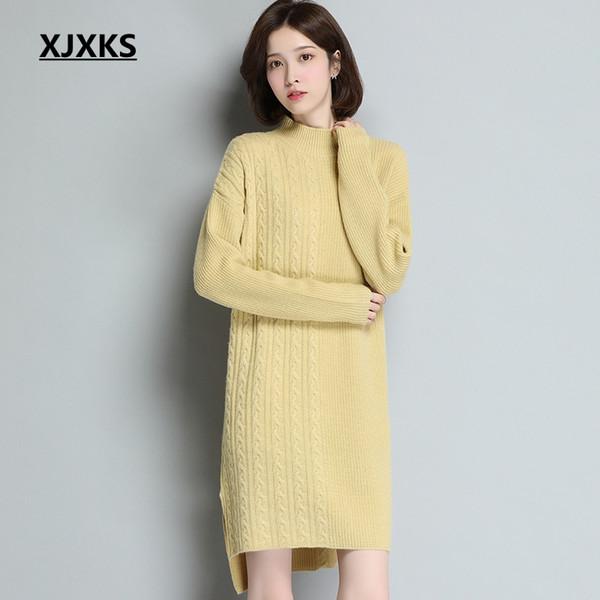 2019 XJXKS New 2019 Autumn Winter Long Sleeve Women Sweater Dress Fashion  Turtleneck Knitted Dresses Casual Plus Size Long Sweaters From Qackwang, ...
