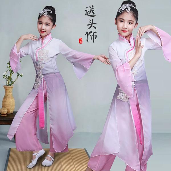 Hanfu-Tanzkostüme der klassischen chinesischen Art der Kinder rosa Fan der alten Tanzmädchen kleidet nationale Yangko-Kleidung