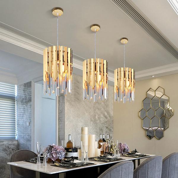 Pequeño Cristal de Oro Redondo Led Moderno Araña de Iluminación para la cocina comedor dormitorio luz de noche k9 lámparas colgantes de lujo