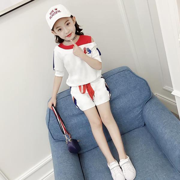11 Kinder 6 Mädchen Frühlingsanzug 10 Kinder 12 und eine halbe Hülse 8 Mädchen Sommer Kurzarm Shorts Mädchen Herbst Outfits J190706