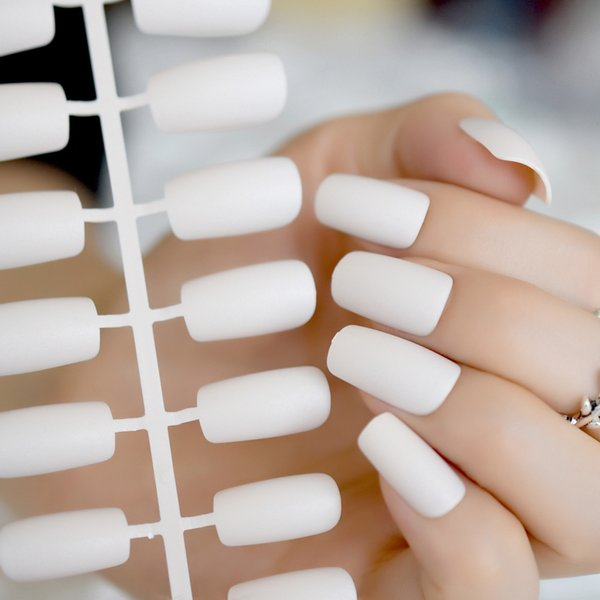 Squoval Matte Fake False Nail Tips Flat Top Froseted Medium Long Artificial  Nails Bride Office Daily Wear Unghie Finte From Xiatian3, $34.98