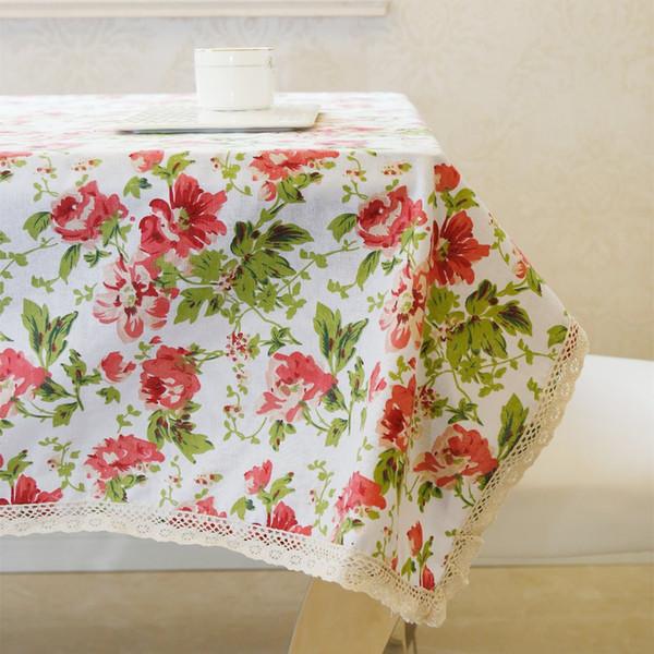 El último algodón ecológico de lino de alto grado Flores románticas Desayuno Mesa de mesa Mantel para boda