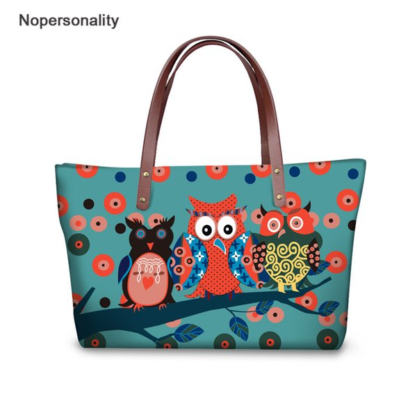 Nopersonality Personality Owl Printing Women Big Handbags Designer 2019 Fashion Bags Casual Large Capacity Summer Beach Bag