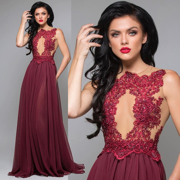 Sexy Keyhole Neck Beaded Lace Applique Prom Dresses Sleeveless Long A Line Cocktail Party Evening Gowns