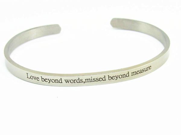 LOVE beyond words,missed beyond meMantra Bracelets 316L Stainless Steel Open Cuff Bangle Fashion Women Female Inspirational Jewelry Bracelet