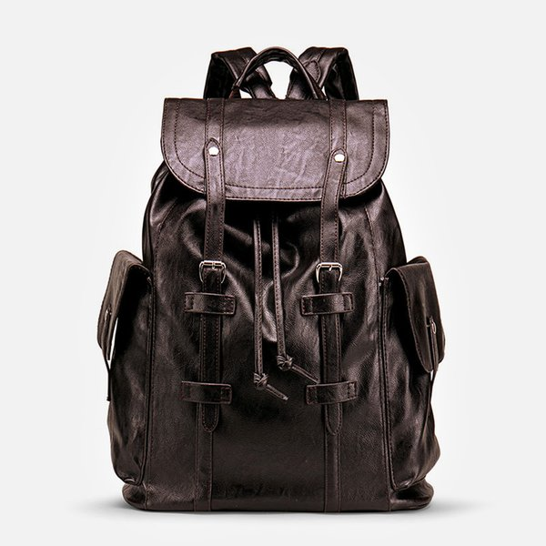 Large Men's Backpack 15.6'' Laptop Bag For Man PU Leather School Backpacks Waterproof Travel Bags Business Solid Men Backpack