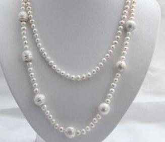 """long 45"""" 7mm round white keshi reborn freshwater cultured pearl necklace h2544"""