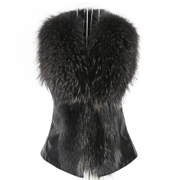 Womens Faux Fur Vest Jacket Sleeveless Winter Body Warm Coat Waistcoat Gilet Cardigan woman Solid vest