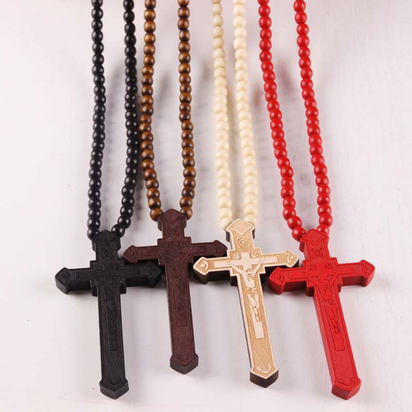 New Wooden Cross Pendant Necklaces Christian religious Wood crucifix Charm beaded chains For women Men Fashion Jewelry Gift