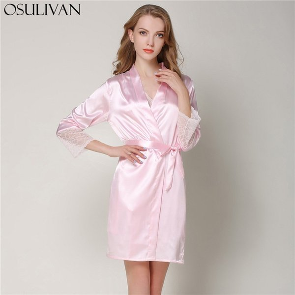 nouveaux styles 1af2d 220c0 2019 OSULIVAN Bridesmaid Robes Peignoir Satin Femme Bride Robe Women Robes  Bathrobe Lace Up Three Quarter Sleeve Sleepwear Faux Silk From Workwell, ...