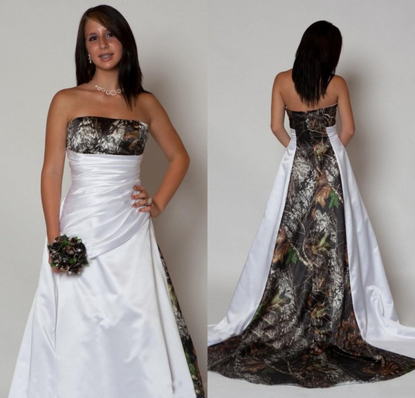 Country Satin Camo Wedding Dresses 2019 with Pleats Empire Waist A line Sweep Train Camouflage Strapless Bridal Gowns