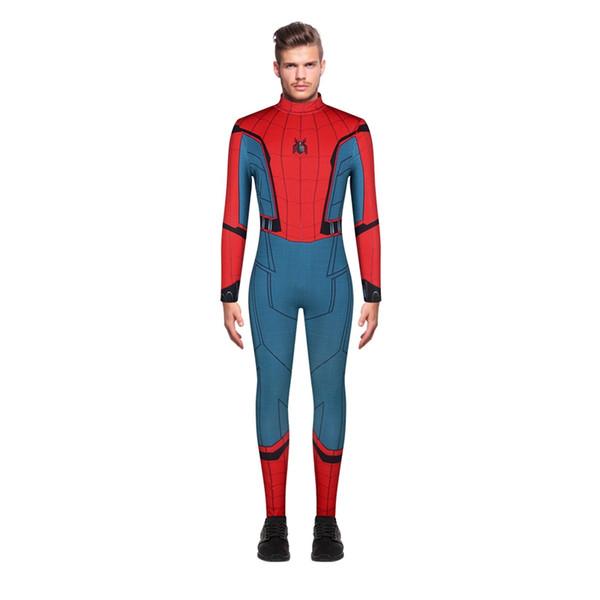 Spiderman 3D Print Männer Overall Bodysuit Elastic Abschlussball-Partei Halloween-Stab Cosplay Rollen Kostüm Sänger anzeigen Strampler Spider One Piece