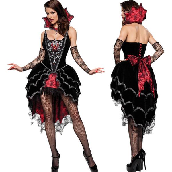 Regina adulti dei costumi vampiri costume di Halloween per le donne sexy cosplay nero gothic lolita abito fantasia