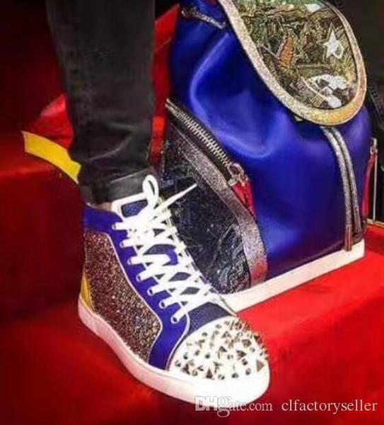 Moda Kırmızı Sole Sneaker ile Elmas Strass Erkekler Kızıl Dip Çivili Pik Ayakkabı Sliver Stud ile Perçin Erkekler Yüksek Yapay elmas deri Kırmızı Mavi