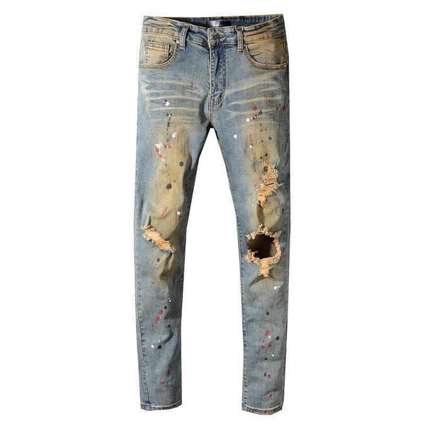 New amiri mens jeans fashion men high street motorcycle Amiri pants Hole-breaking top quality casual miri Jeans 29-40 waistline trousers