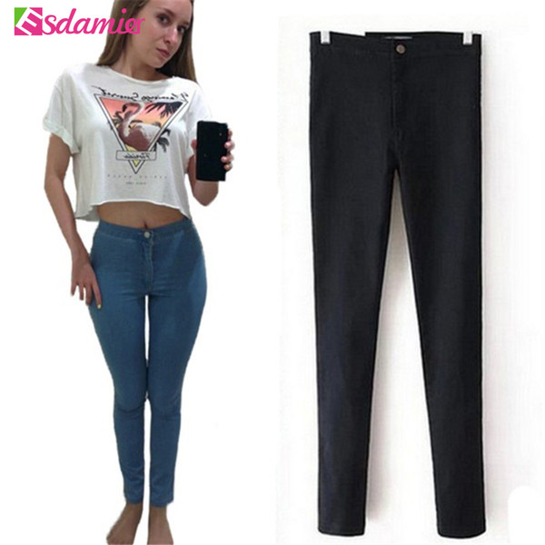 Hot Selling High Waist Jeans Woman Skinny Jeans Femme Stretch Ladies Jeans Slim Lift Hip Denim Pants Trousers For WomenQ190330