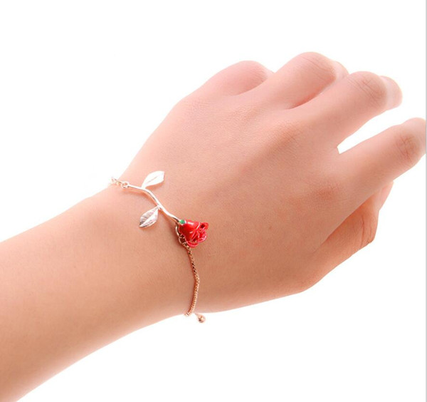 Ou Fan Romantic Fashion Personality Accessories Alloy Rose Pendant Bracelet